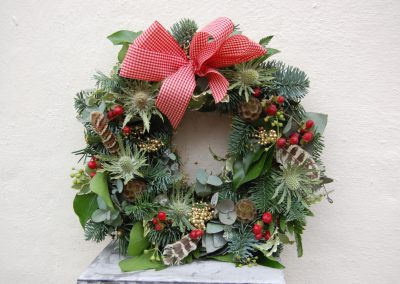 Christmas Red Bow Wreath