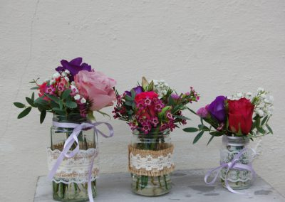 Country Pinks Jam Jar Table Decorations