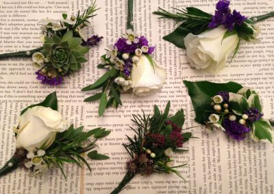 Ivory Purple Buttonholes